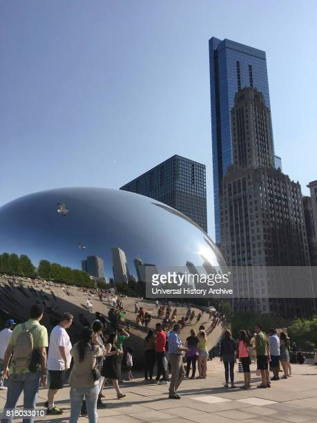 View of the Cloud Gate sculpture located within the ATT Plaza at Millennium Park created by Anish Kapoor a British sculptor Dated 21st Century