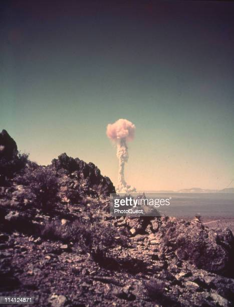 View of the cloud plume from one of the nuclear detonations during the Operation UpshotKnothole series at the Nevada Proving Grounds Nevada between...