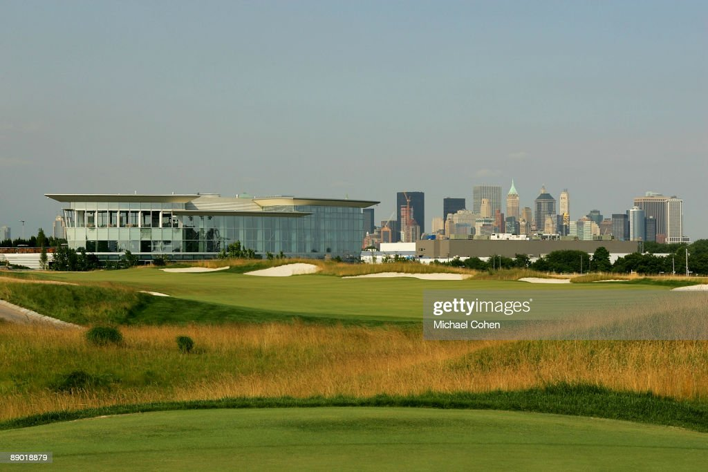 A view of the clubhouse and 18th fairway photographed at Liberty National Golf Club on July 1 2009 in Jersey City New Jersey