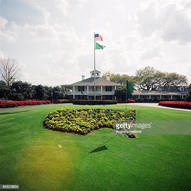 View of the Clubhouse as seen from the Founders Circle at Augusta National Golf Club in Augusta Georgia