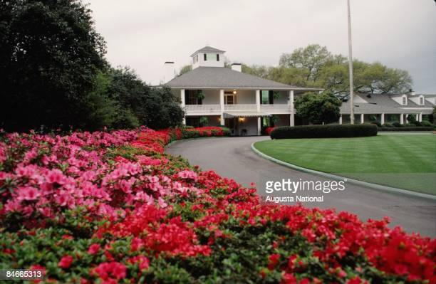 View of the Clubhouse from the azaleas during the 1989 Masters Tournament at Augusta National Golf Club in April 1989 in Augusta Georgia