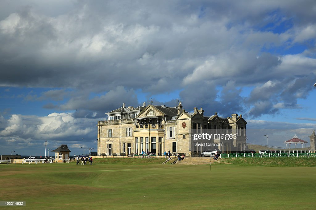 A view of the clubhouse of the Royal and Ancient Golf Club of St Andrews and the 18th green (R) and first tee on the Old Course at St Andrews venue for The Open Championship in 2015, on July 29, 2014 in St Andrews, Scotland.