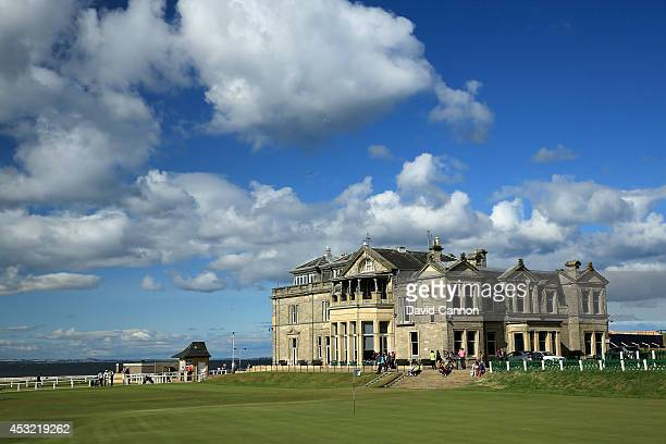 A view of the clubhouse of the Royal and Ancient Golf Club of St Andrews with the 18th green and the first tee on the Old Course at St Andrews venue...