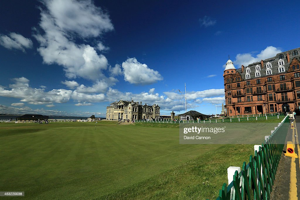 A view of the clubhouse of the Royal and Ancient Golf Club of St Andrews, with the 18th green and the first tee on the Old Course at St Andrews venue for The Open Championship in 2015, on July 29, 2014 in St Andrews, Scotland.