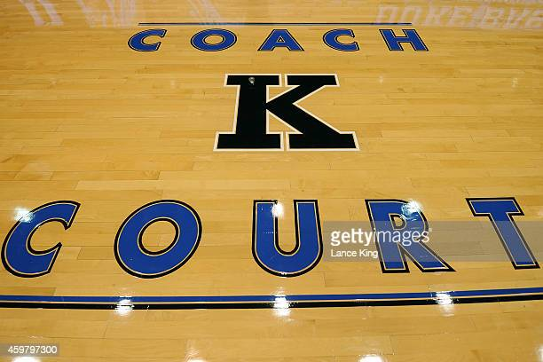 A view of the 'COACH K COURT' logo at Cameron Indoor Stadium on November 30 2014 in Durham North Carolina