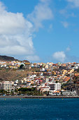 View of the coastline with the town of San Sebastian on the island of La Gomera which is one of the Canary Islands Spain located in the Atlantic...