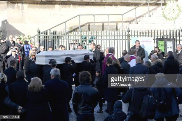 A view of the coffin during Johnny Hallydays funerals at Eglise de la Madeleine