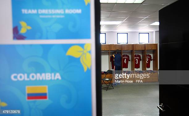 A view of the Colombia dressing room prior battle for the ball during the FIFA U17 Women's World Cup 2014 group D match between Mexico and Colombia...