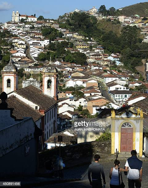 View of the colonial city of Ouro Preto in Minas Gerais Brazil on June 19 2014 Ouro Preto originally called Vila Rica was the focal point of gold...