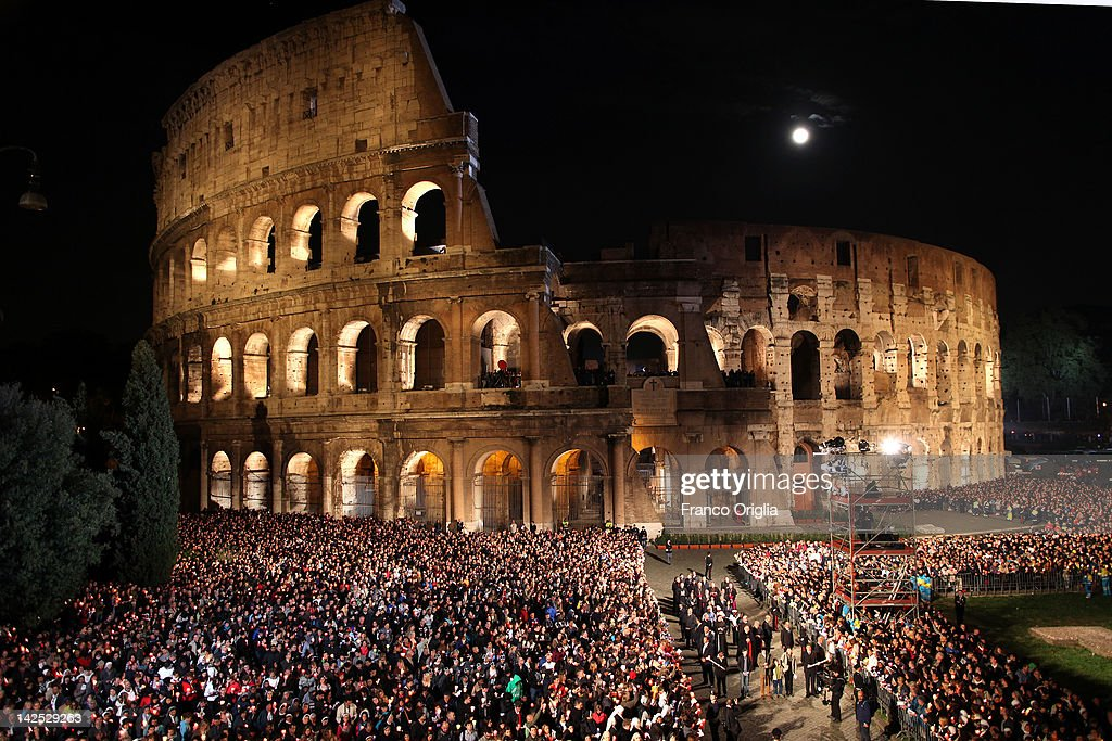 A view of the Colosseum and Roman Forum during the Way Of The Cross procession held by Pope Benedict XVI on Good Friday April 6, 2012 in Rome, Italy. The traditional Catholic procession on Good Friday recalls the crucifixion of Jesus Christ ahead of Sunday's Easter holiday.