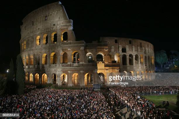 A view of the Colosseum during the Way of The Cross held by Pope Francis on April 14 2017 in Rome Italy The Way of the Cross is a centuriesold and...