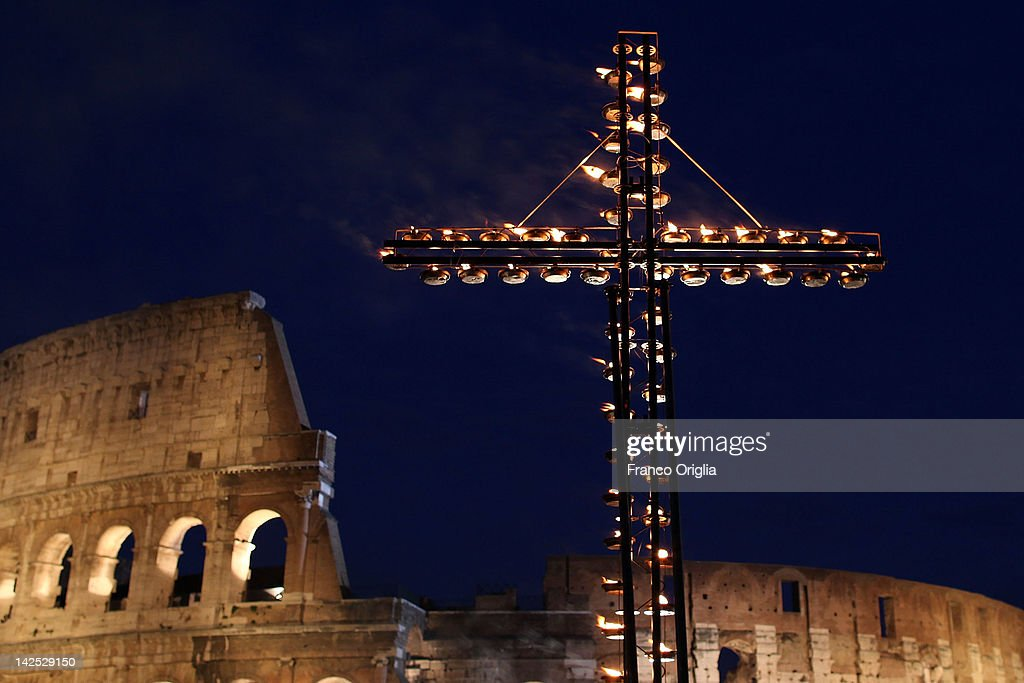 A view of the Colosseum during the Way Of The Cross procession held by Pope Benedict XVI on Good Friday April 6, 2012 in Rome, Italy. The traditional Catholic procession on Good Friday recalls the crucifixion of Jesus Christ ahead of Sunday's Easter holiday.