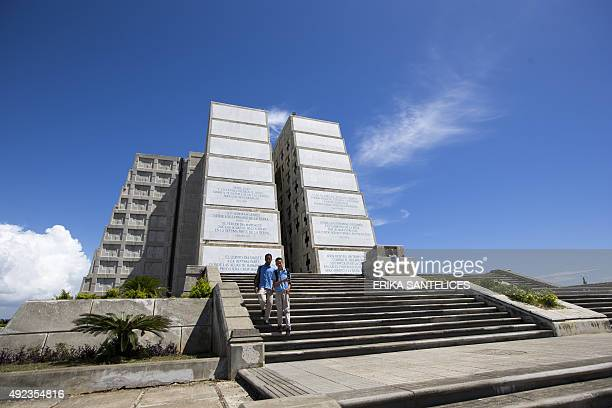 View of the Columbus Lighthouse in Santo Domingo Dominican Republic on October 12 2015 Every October 12 the Columbus Lighthouse is opened to the...