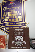 A view of the commemorative brick given to program finalists during the Combat Wounded Coalition 400 presented by Crown Royal at the Brickyard at...