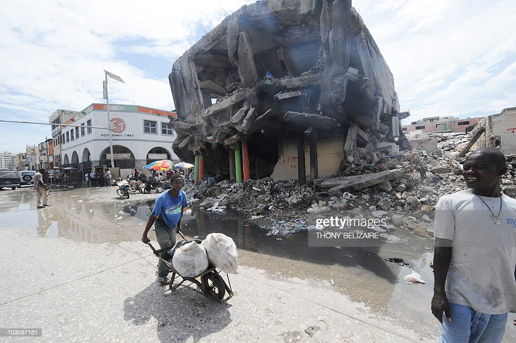 A view of the commercial center of Port au Prince is seen on July 22 2010 with destroyed houses in the aftermath of the January 12 2010 earthquake...