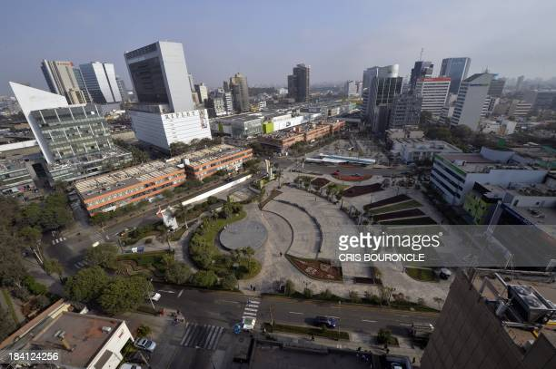 View of the commercial district of San Isidro in Lima Peru on October 11 2013 Lima was named host city of the 2019 PanAmerican Games AFP PHOTO/CRIS...