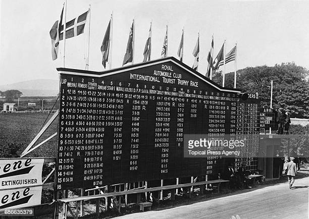 A view of the competitor lap board during the Royal Automobile Club Isle of Man Tourist Trophy race on 11 June 1914 at Douglas Isle of Man United...