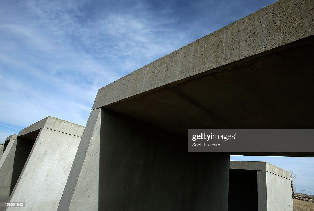 A view of the concrete artworks by Donald Judd that run along the border of the Chinati's Foundation property on December 26, 2012 in Marfa, Texas. Situated in West Texas, this town of just over 2000 residents has become a popular tourist destination.