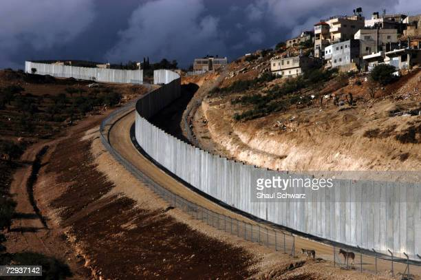 View of the concrete separation wall between the Palestinian city of Abu Dis and Israel November 22 2004 With Gaza already being separated by a...