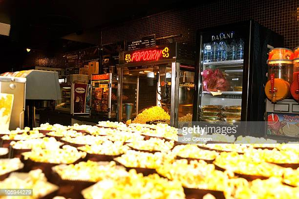 A view of the consession stand serving free soft drinks and popcorn at the New York Premiere of 'Runaway' at Landmark Sunshine Theater on October 21...