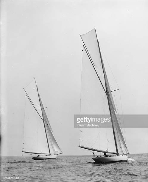 View of the Constitution and the Columbia probably during trials for the America's Cup 1901