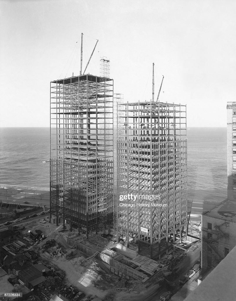 View of the construction of the apartment buildings at 860-880 North Lake Shore Drive, Chicago, ca.1950s. The buildings were designed by the famed architect Mies Van Der Rohe. From the Hedrich-Blessing collection.