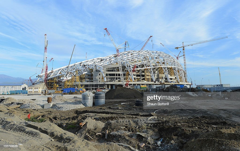 A view of the construction of the Fisht Olympic Stadium venue for Ceremonies at the 2014 Winter Olympics on November 6, 2012 in Sochi, Russia.