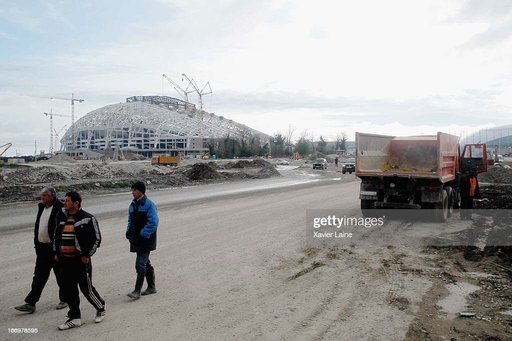 A view of the construction of the Fisht Olympic Stadium venue for Ceremonies at the 2014 Winter Olympics on April 17, 2013 in Sochi, Russia.