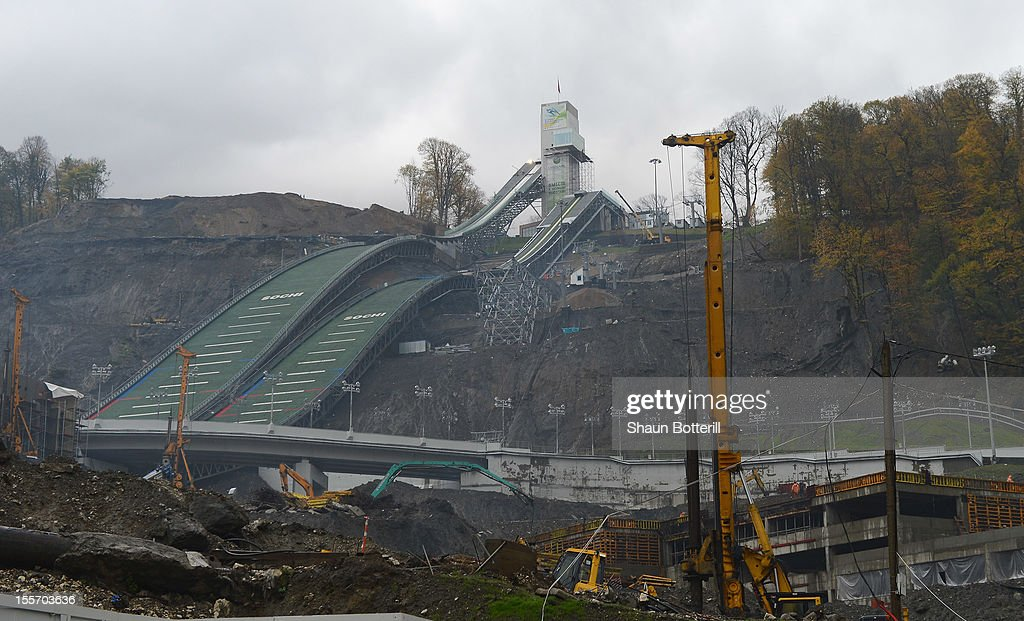 A view of the construction of the RusSki Gorki Jumping Centre venue for Ski Jumping and Nordic Combined at the 2014 Winter Olympics on November 6, 2012 in Sochi, Russia.
