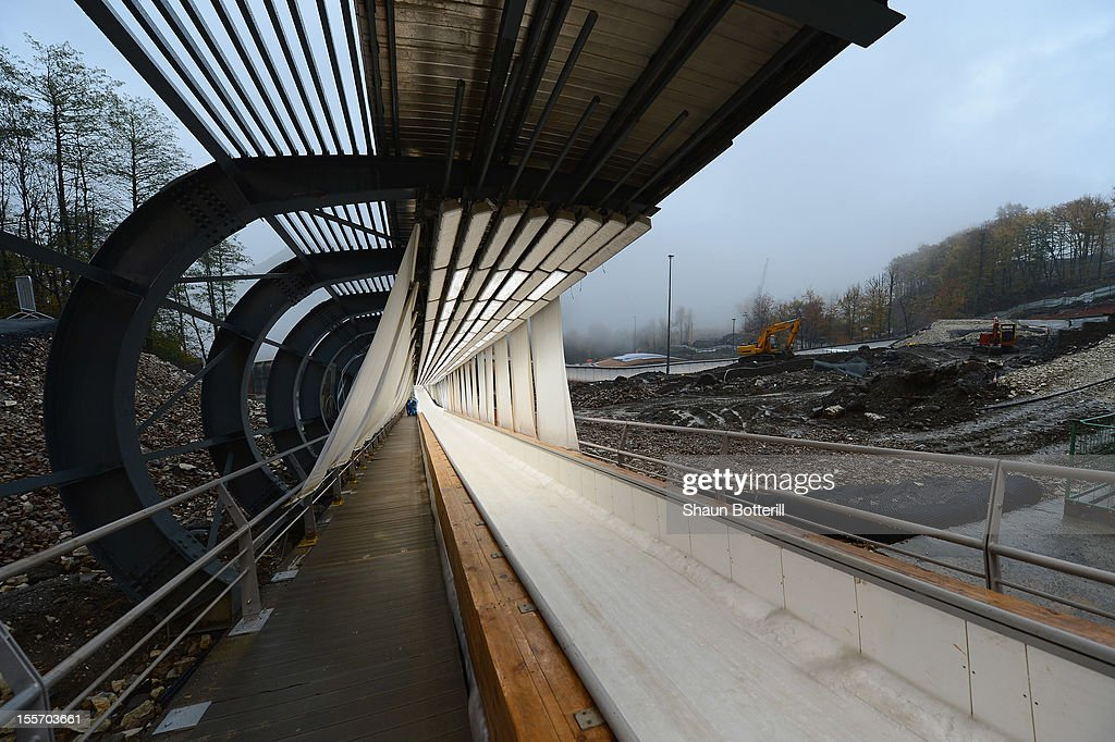 A view of the construction of the Sliding Centre Sanki venue for Bobsleigh and Skeleton at the 2014 Winter Olympics on November 7, 2012 in Sochi, Russia.