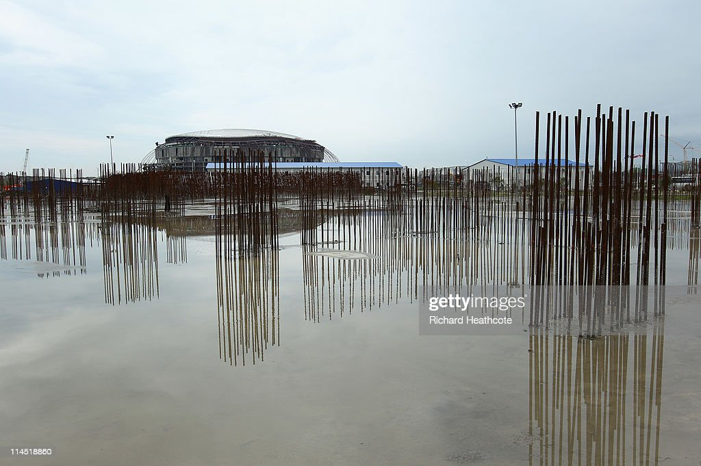 A view of the construction on the Bolshoi Ice Palace in the Coastal Cluster which will host Ice Hockey matches on May 19, 2011 in Sochi, Russia. Sochi is preparing for the 2014 Winter Olympics with massive construction and regeneration projects.