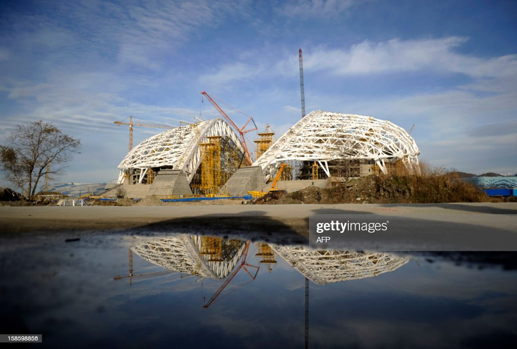 A view of the construction site of 'Fisht' Olympic Stadium in the Imereti Valley in the Russian Black Sea resort of Sochi, on December 20, 2012. Sochi will host the 2014 Winter Olympics that start on February 7, 2014 .