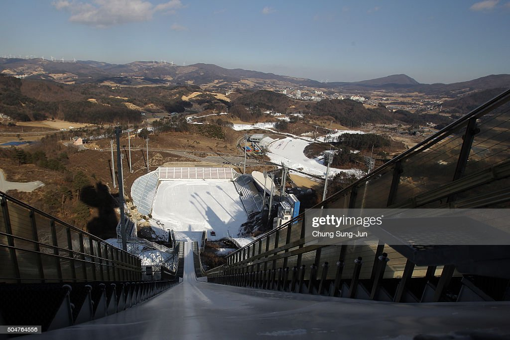 View of the construction site of the Alpensia Ski Junping Centre of the Pyeongchang 2018 Winter Olympics on January 13 2016 in Pyeongchanggun South...
