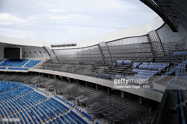 A view of the construction work of the Estadio das Dunas during the 2014 FIFA World Cup Host City Tour on May 28 2014 in Natal Brazil