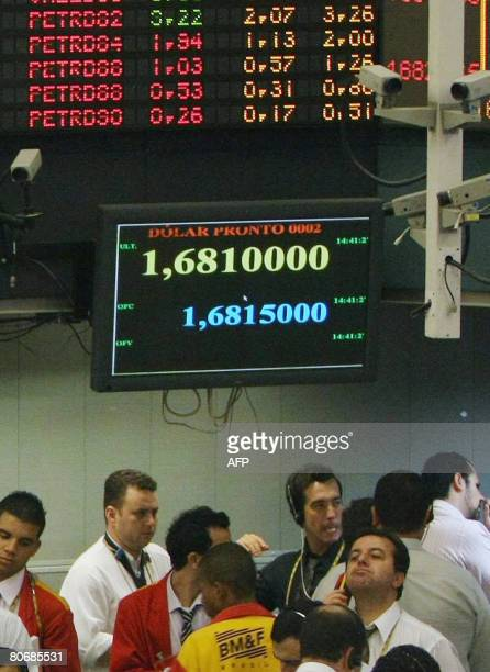 View of the control panel at the Mercantile Futures Exchange in Sao Paulo Brazil on April 15 2008 where the rising shares 4%of the staterun oil...