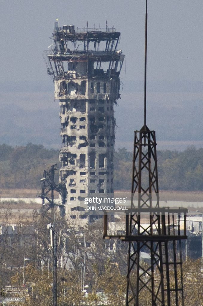 View of the control tower of Donetsk's Sergey Prokofiev international airport taken on October 9 after weeks of shelling between Ukrainian army...