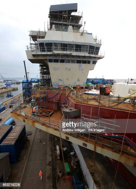 A view of the control tower on the deck of HMS Queen Elizabeth Aircraft Carrier at Rosyth Docks