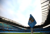 A view of the corner flag ahead the Barclays Premier League match between Manchester City and Liverpool at the Etihad Stadium on December 26 2013 in...