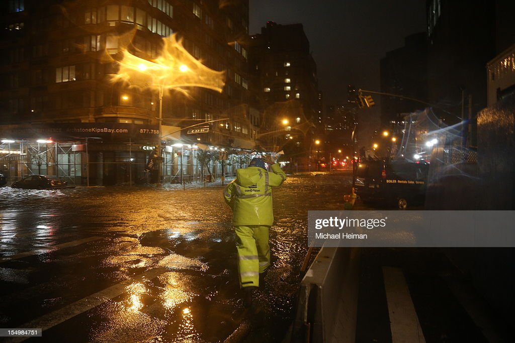 A view of the corner of 34th Street and 1st Street in front of NYU Langone Medical Center in Manhattan during rains from Hurricane Sandy on October 29, 2012 in New York City. Hurricane Sandy, which threatens 50 million people in the eastern third of the U.S., is expected to bring days of rain, high winds and possibly heavy snow. New York Governor Andrew Cuomo announced the closure of all New York City will bus, subway and commuter rail service as of Sunday evening.