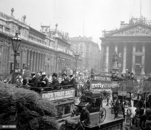 View of the coronation decorations at the Bank of England and the Royal Exchange for King Edward VII's coronation 1901 Threadneedle Street London is...