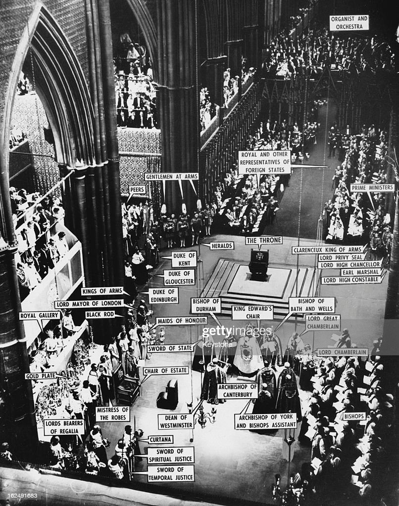 A view of the coronation of Queen <a gi-track='captionPersonalityLinkClicked' href=/galleries/search?phrase=Elizabeth+II&family=editorial&specificpeople=67226 ng-click='$event.stopPropagation()'>Elizabeth II</a> at Westminster Abbey, with the various participants labelled, London, 2nd June 1953.