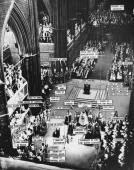 A view of the coronation of Queen Elizabeth II at Westminster Abbey with the various participants labelled London 2nd June 1953