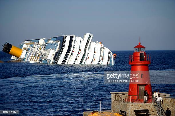View of the Costa Concordia on January 14 after the cruise ship ran aground and keeled over off the Isola del Giglio last night Three people died and...