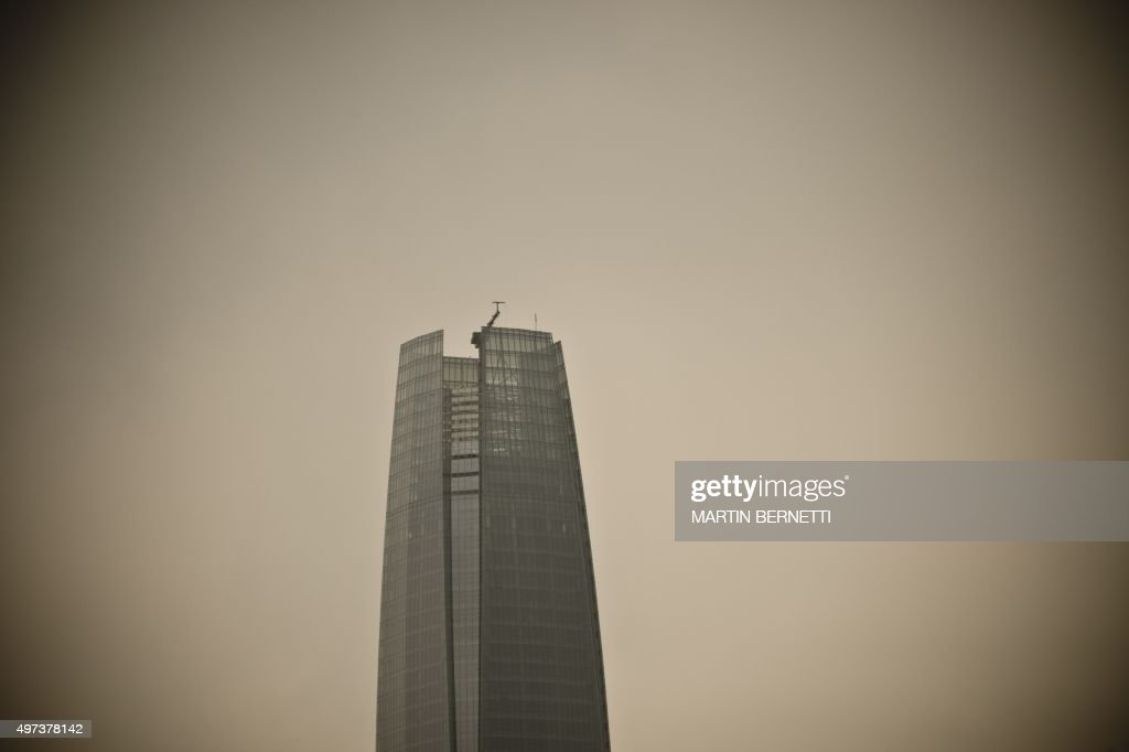 View of the Costanera Center tower in Santiago on November 16, 2015. The Costanera Cernter has the highest lookout in South America, with a height of 300 meters and a 360 degrees panoramic view.