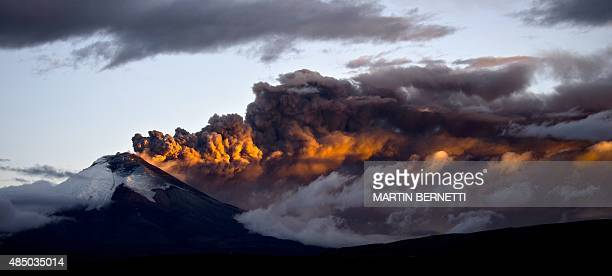 View of the Cotopaxi volcano spewing ashes from Sangolqui Ecuador on August 23 2015 A dozen towns of central Ecuador including Quito sector suffered...