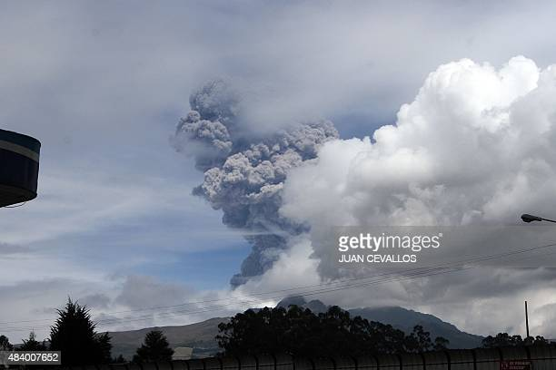 View of the Cotopaxi volcano spewing ashes in Pichincha province Ecuador on August 14 2015 The volcano spewed a column of ash five kilometers high on...