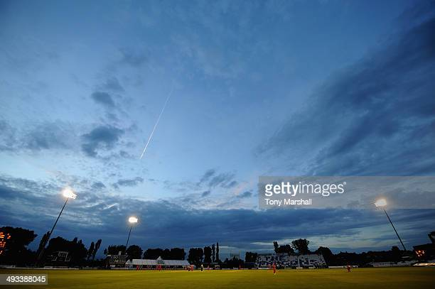 A view of The County Ground as Derbyshire Falconstake on Lancashire Lightning during the NatWest T20 Blast match between Derbyshire Falcons and...