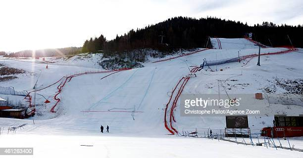 A view of the course after a windstorm which forced the Audi FIS Alpine Ski World Cup Women's Downhill to be cancelled on January 10 2015 in Bad...