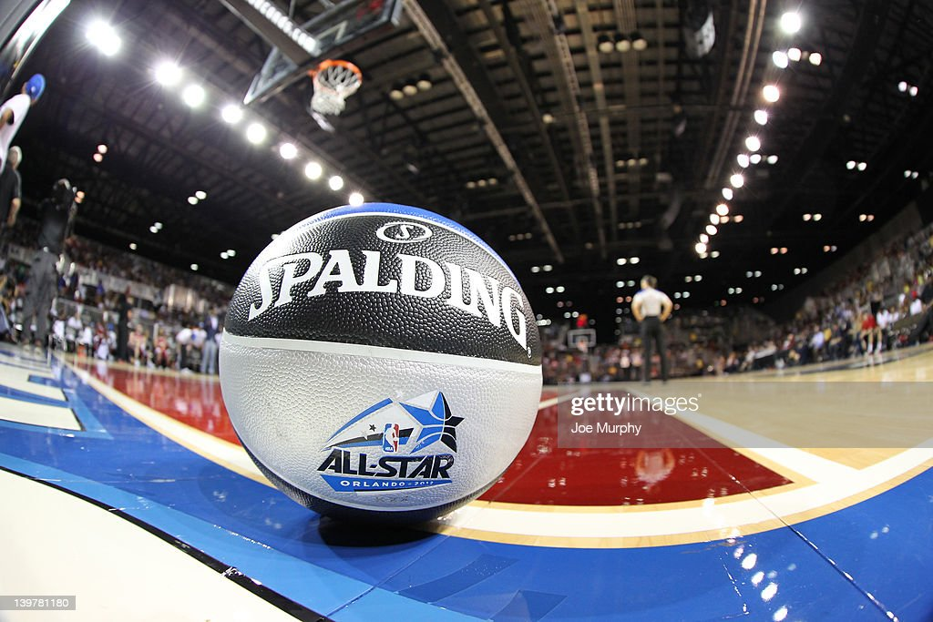 A view of the court and game ball during the Sprint All-Star Celebrity Game on center court at Jam Session during the NBA All-Star Weekend on February 24, 2012 at the Orange County Convention Center in Orlando, Florida.
