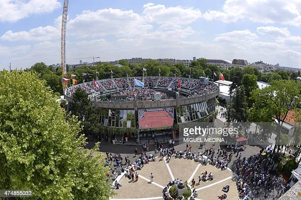 View of the court n1 at the Roland Garros 2015 French Tennis Open in Paris on May 27 2015 AFP PHOTO / MIGUEL MEDINA